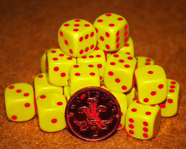 d6 spot dice - 14mm YELLOW/Red x10