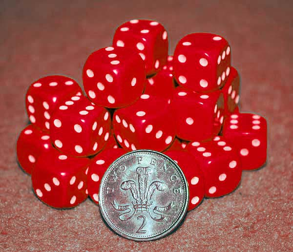 d6 spot dice - 14mm RED/white x10