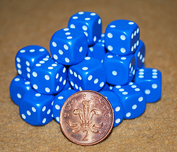 d6 spot dice - 14mm BLUE/white x10