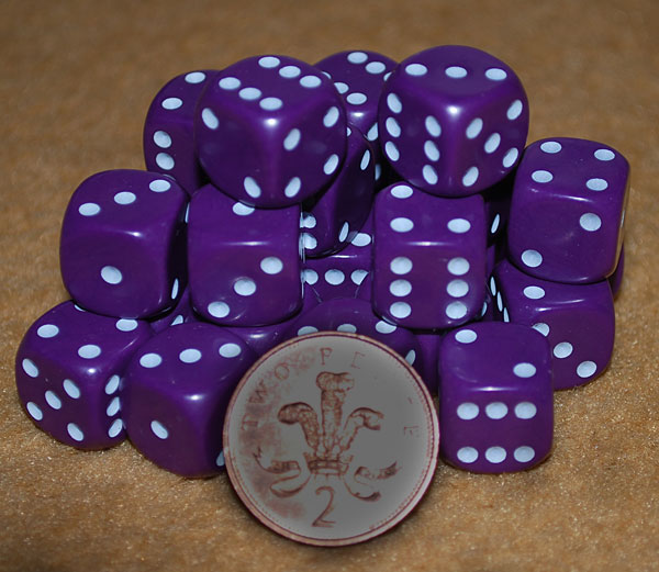 Dice - 10 x D6 spot 14mm opaque  Purple with white spots