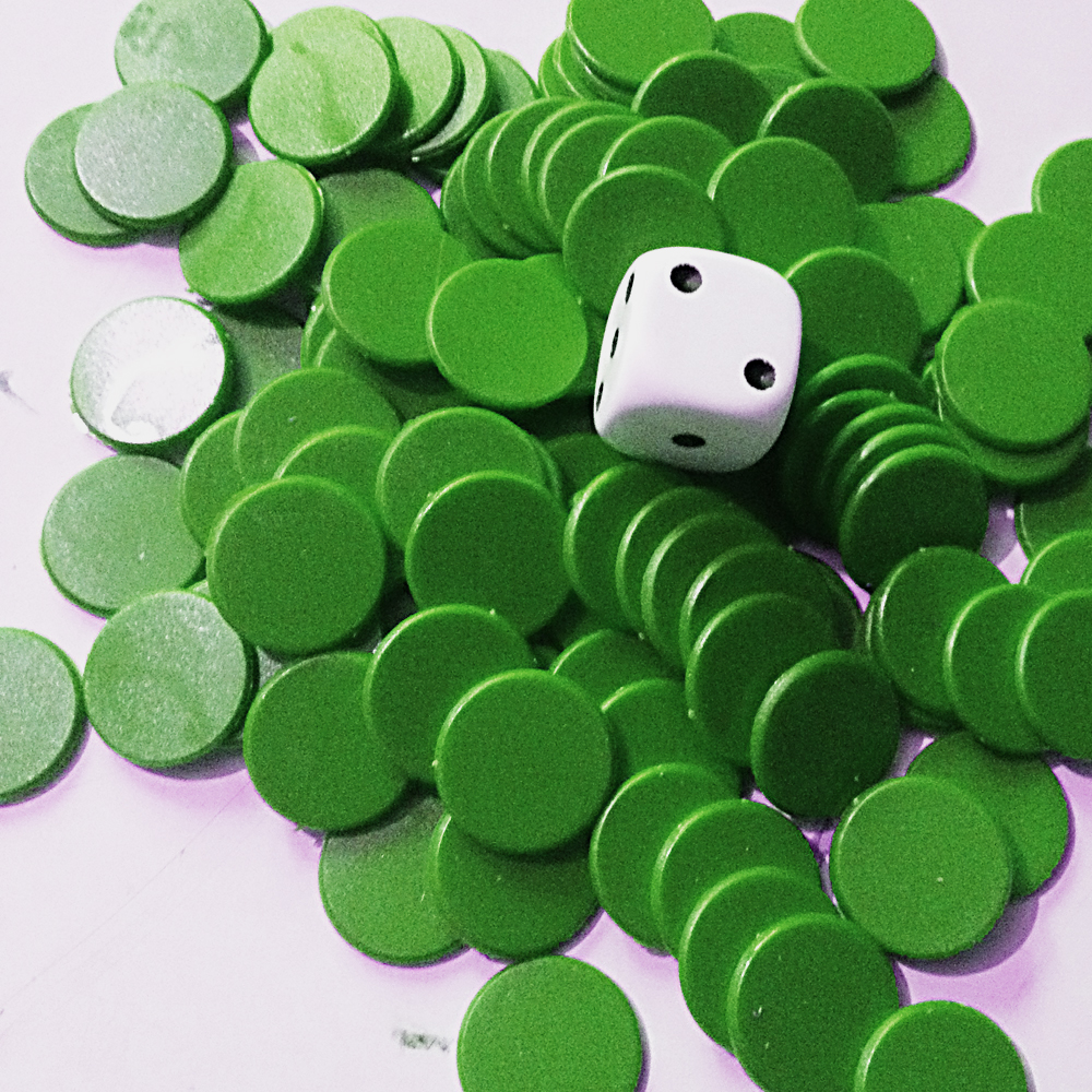 15mm Counters GREEN x1000