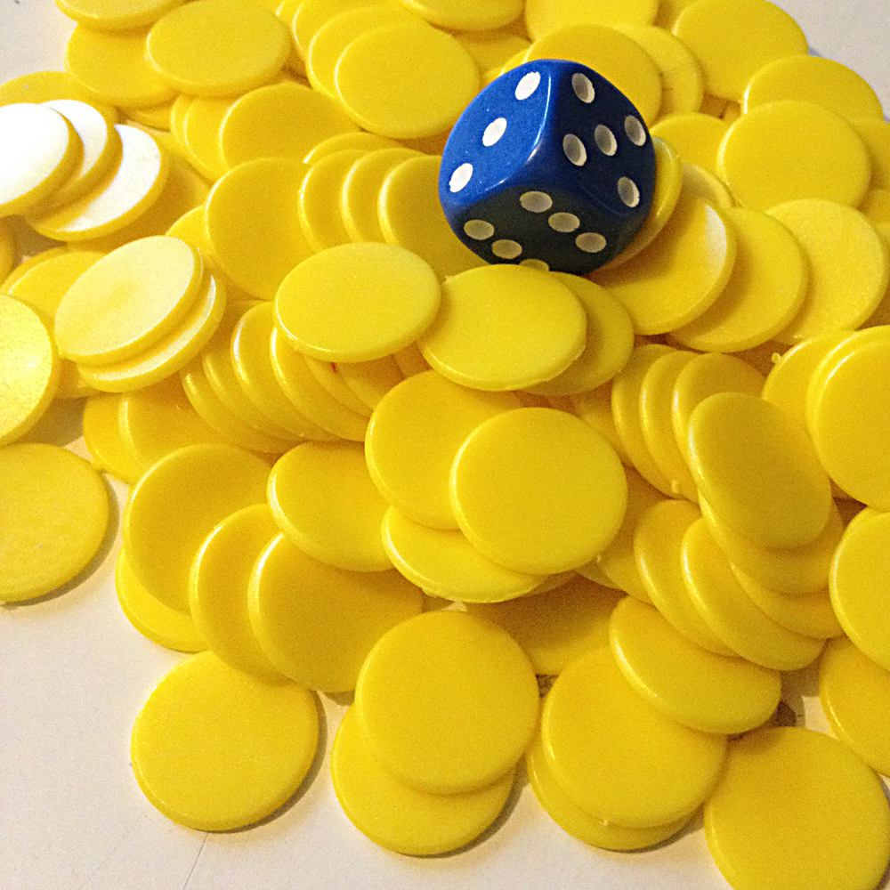 15mm Counters YELLOW x1000