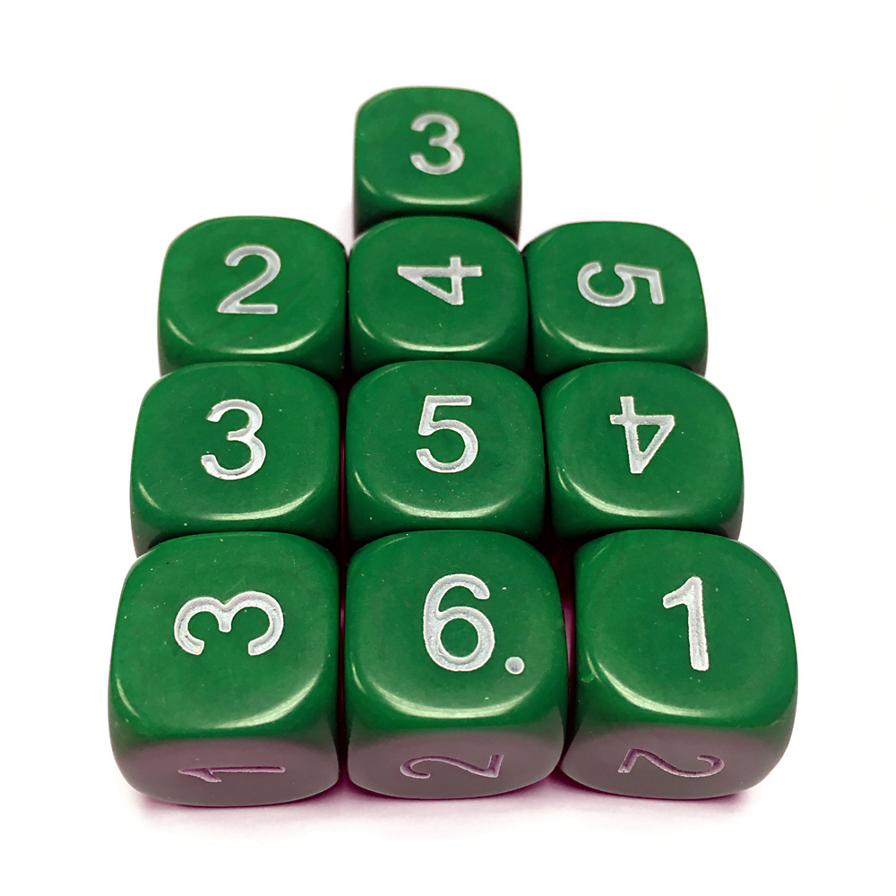 14mm Dice D6 rounded corner NUMBERED 1-6 Green / White x10
