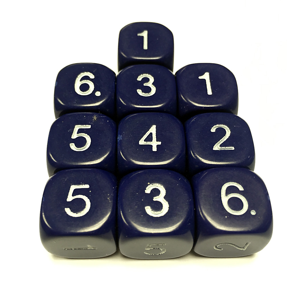 14mm Dice D6 rounded corner NUMBERED 1-6 Black / White x10