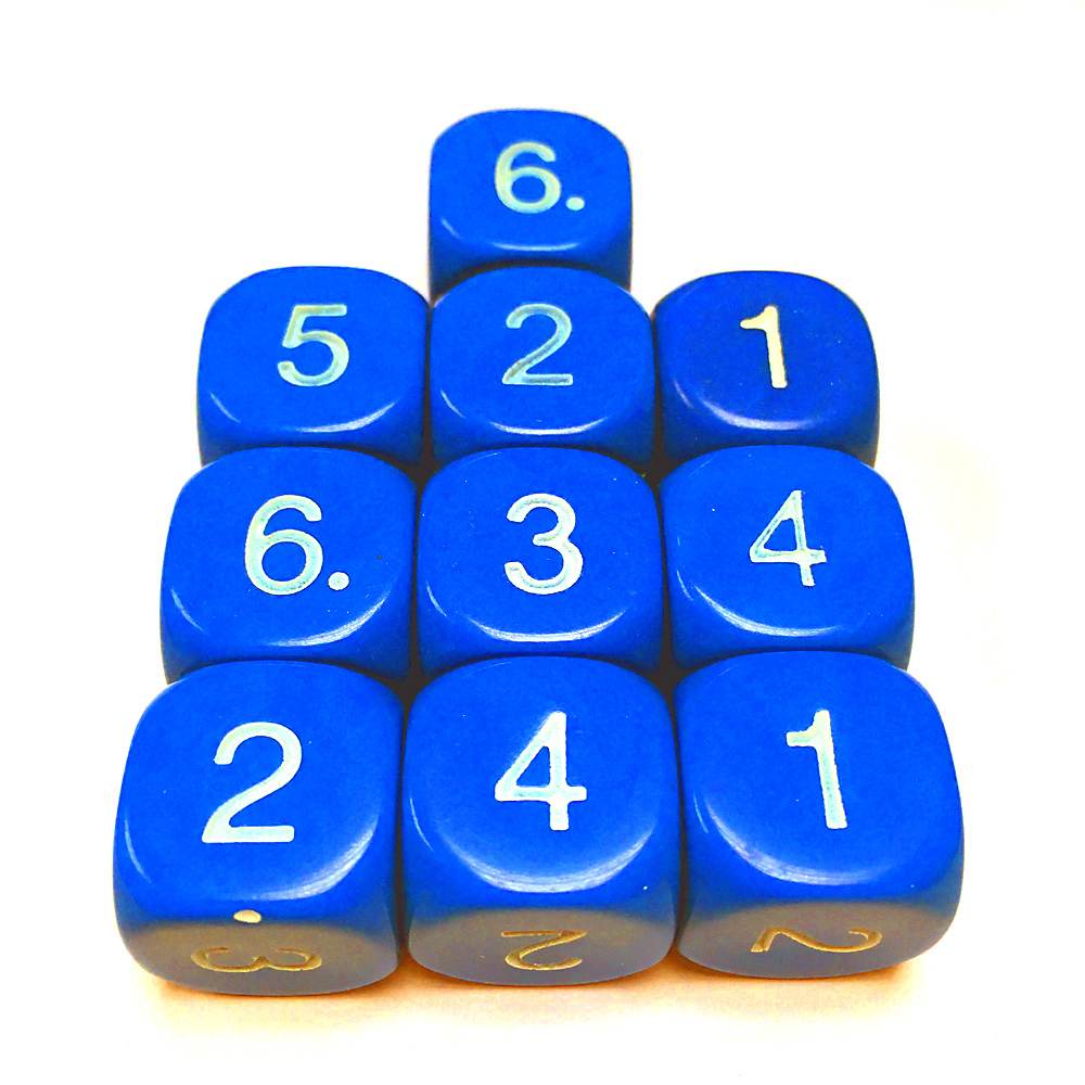 14mm Dice D6 rounded corner NUMBERED 1-6 Blue / White x10