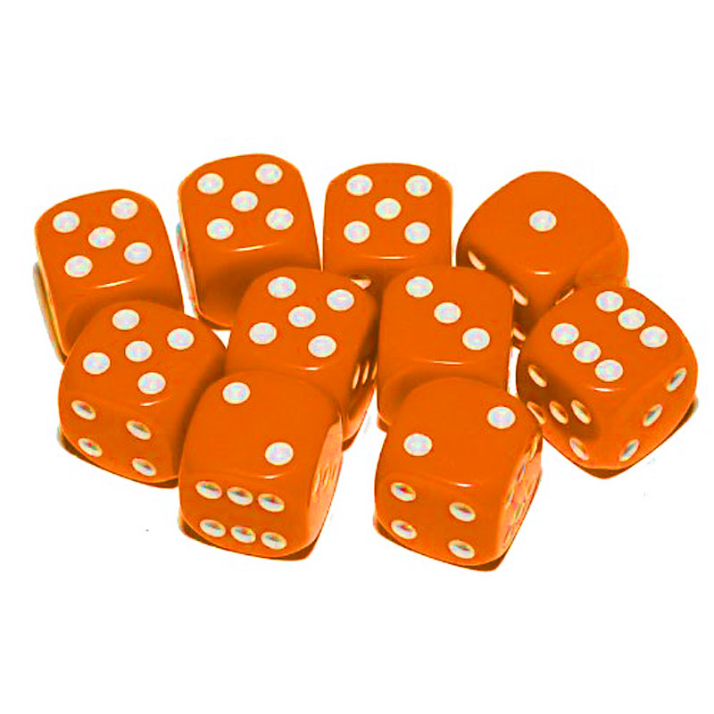 d6 spot dice - 10mm ORANGE/white x100