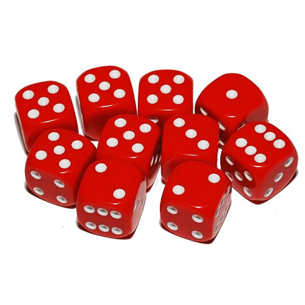 d6 spot dice - 16mm RED/white x10
