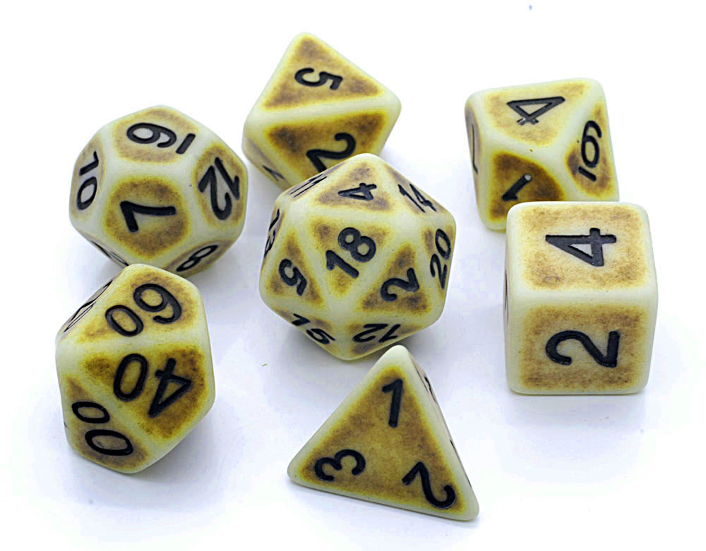 Ancient Dice Set D20 Poly Dice set -Yellow (CHN)