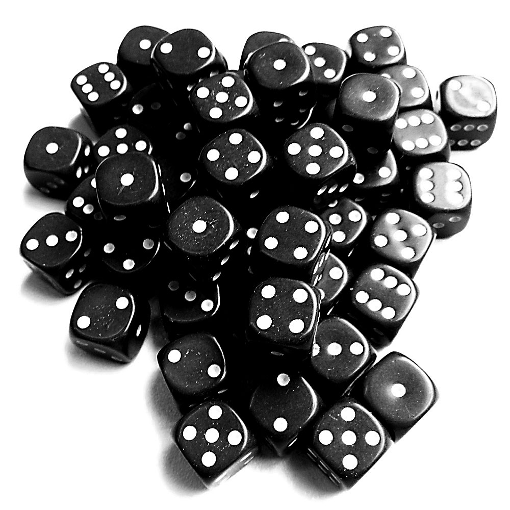 d6 spot dice - 12mm BLACK/white x10