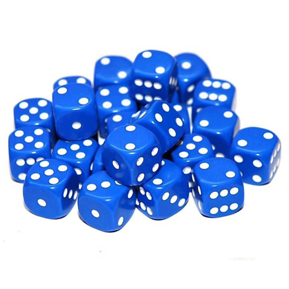 d6 spot dice - 12mm BLUE/white x10