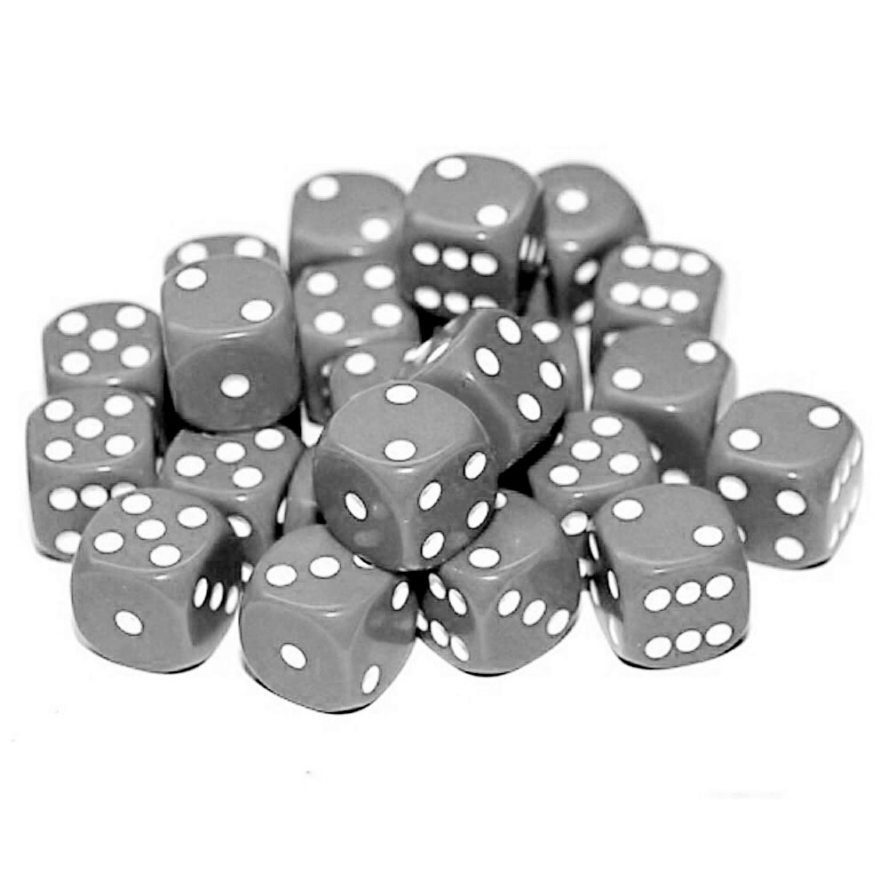 d6 spot dice - 12mm GREY/white x10