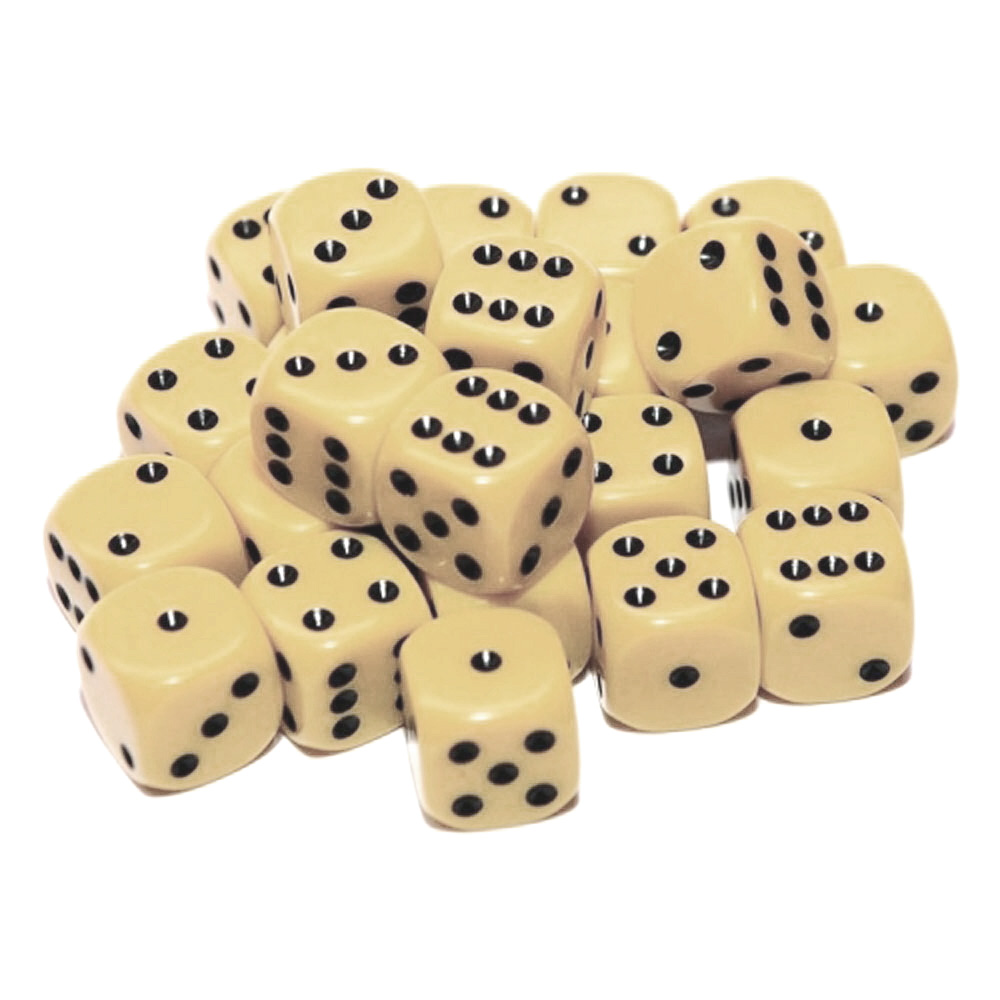 d6 spot dice - 12mm IVORY/black x10