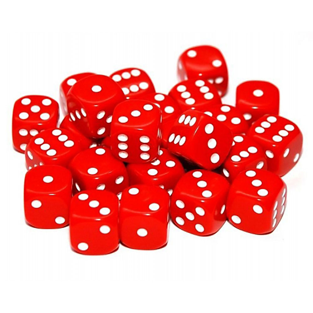d6 spot dice - 12mm RED/white x10