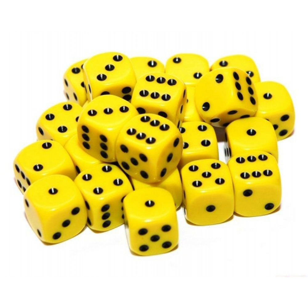 d6 spot dice - 12mm YELLOW/black x10