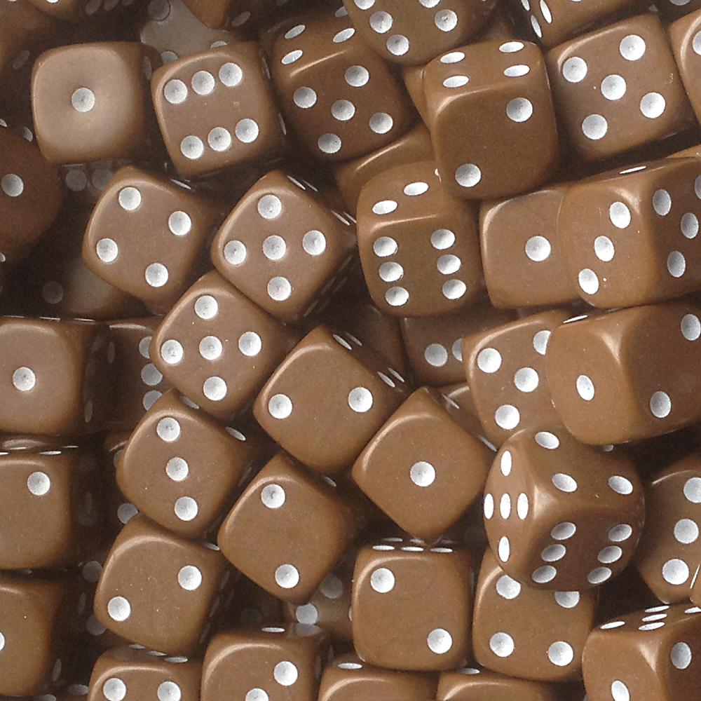 d6 spot dice - 16mm BROWN/white x10