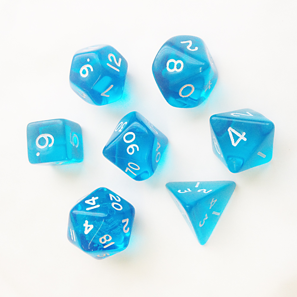 Gem Dice Set D20 Poly Dice set - LIGHT BLUE
