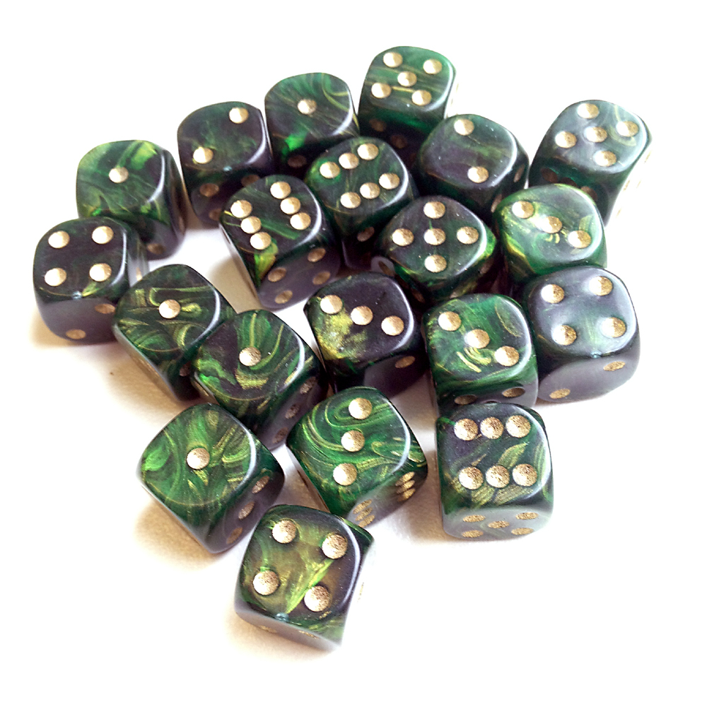 d6 spot dice - 15mm GOLD MIST Green x10