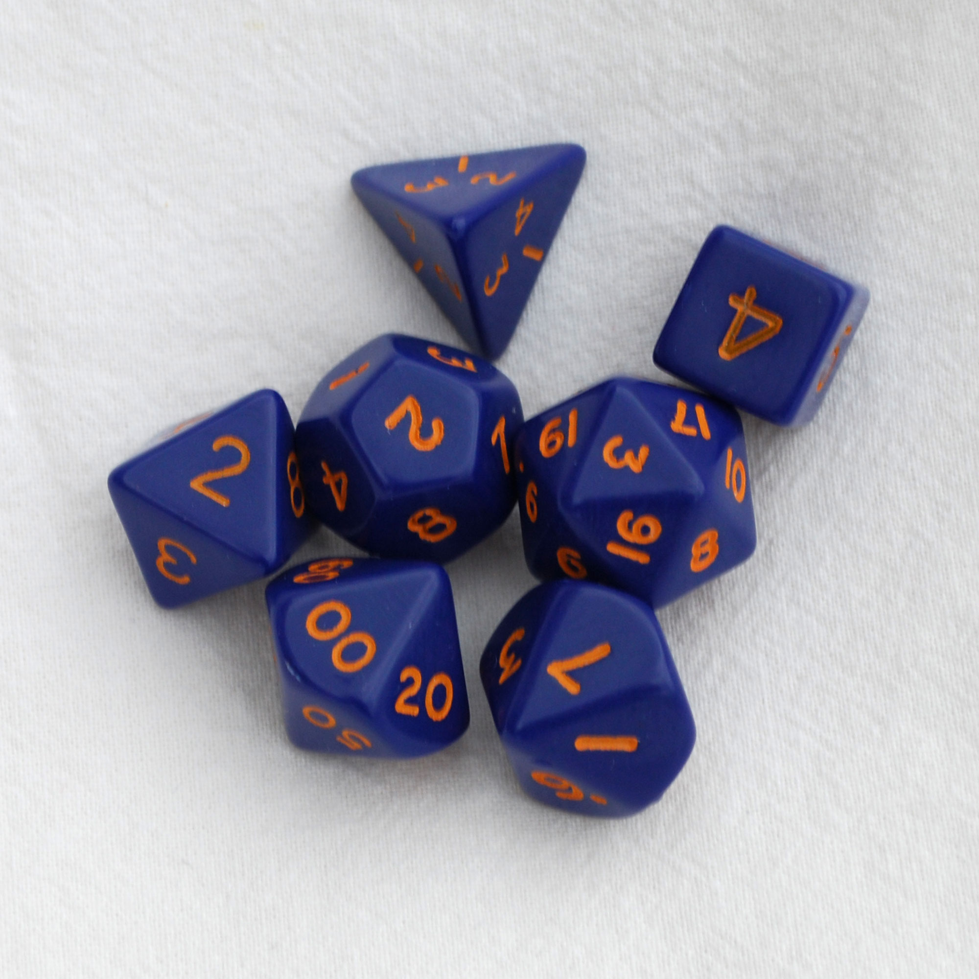 Opaque Dice Set D20 Poly Dice set - Dark Blue with Orange numbers