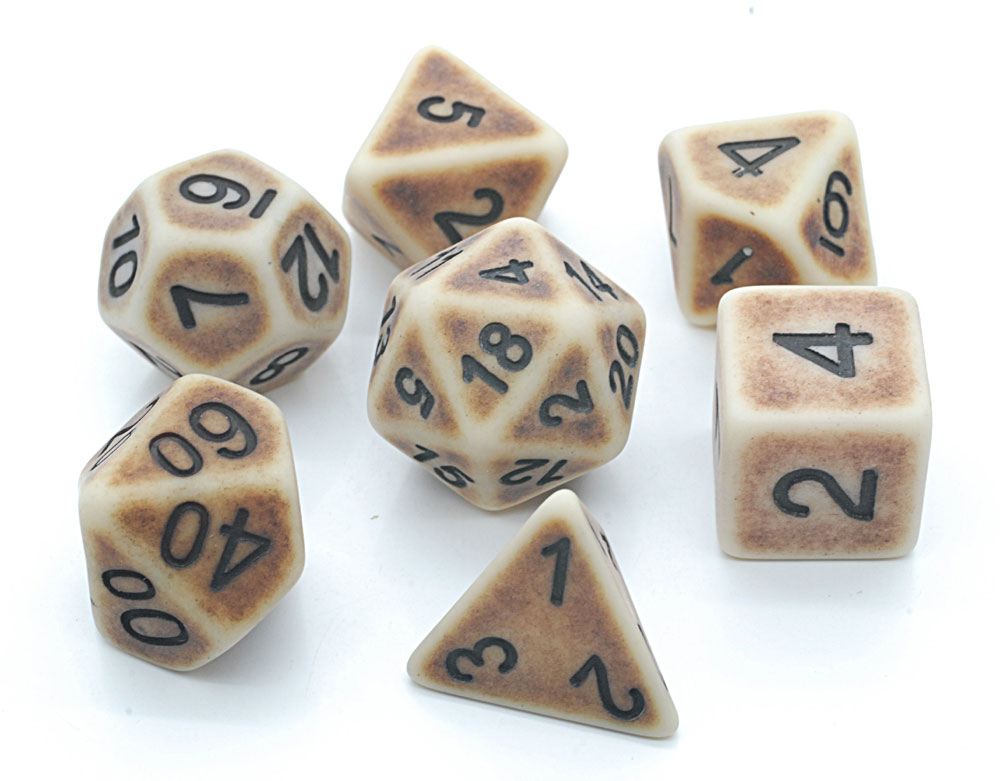 Ancient Dice Set D20 Poly Dice set - BROWN BONE (CHN)