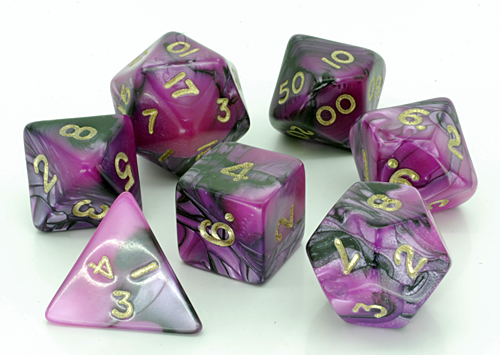 Toxic Dice Set D20 Poly Dice set - Pink with BLACK