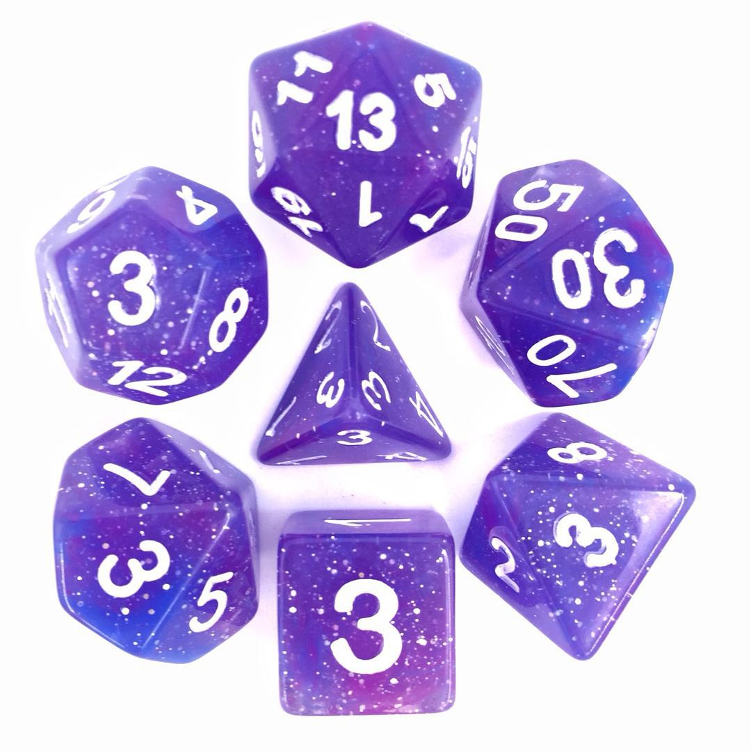 Galaxy Dice Set D20 Poly Dice set - GALAXY Purple Blue (CHN)